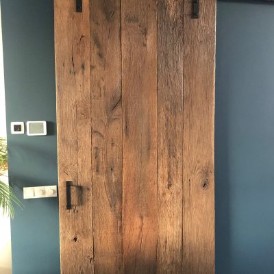 Massieve reclaimed eiken loftdeur
