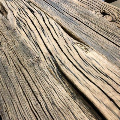 Aged oak railroad beams