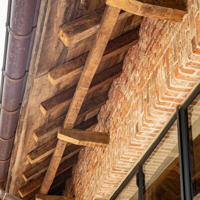 Old oak roof boarding beams